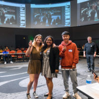 First-place winners Bryn Rosemore, team leader Amaya Kaipat, and Hsien-you Chao pose for the camera at the conclusion of the 2019 Abobe Creative Jam at Washington State University.