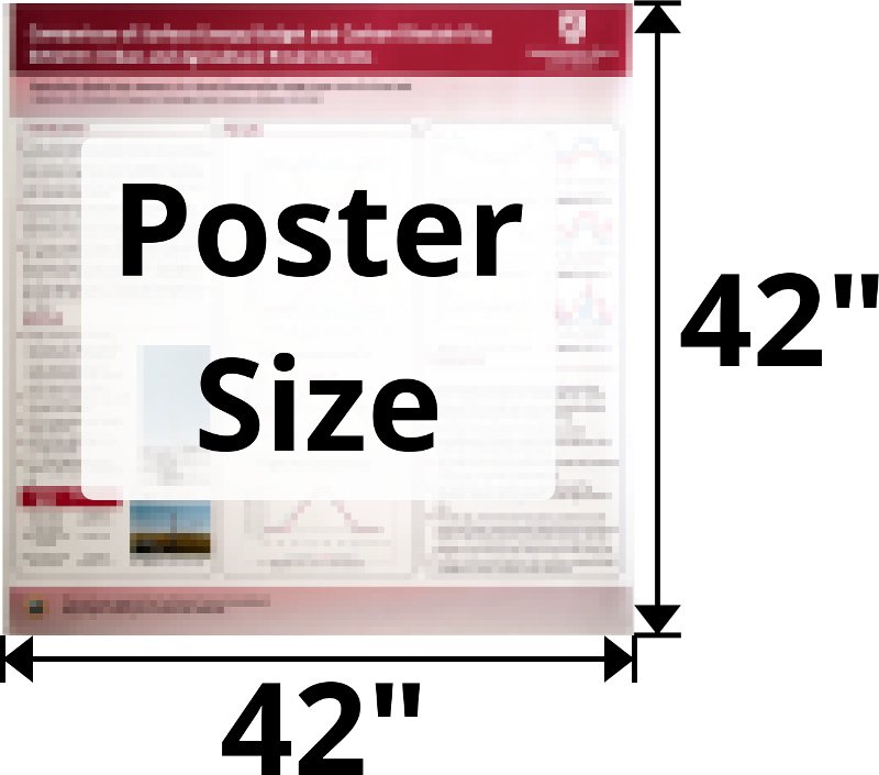 Poster size: no larger than 42 inches by 42 inches.