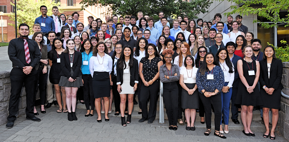 Student participants of the 2018 Summer Undergraduate Research Program stand together outside the CUE building.