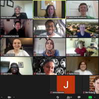 Screenshot of a Zoom meeting from the orientation event for summer 2020 REU students.