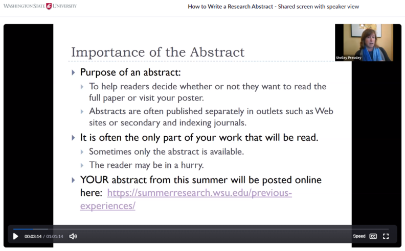 View a captioned recording of the 2020 Abstract Writing Workshop on Zoom.