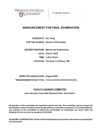 Fan Yang final doctoral exam announcement