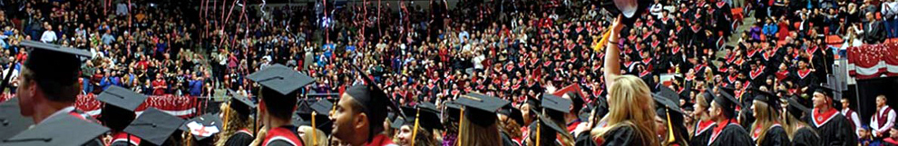 Photo of graduating students celebrating at WSU commencement