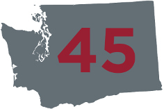 Decorative graphic with the number 45 positioned in the center of a silhouette of the state of Washington
