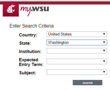 Screen shot of the transfer credit equivalency search tool
