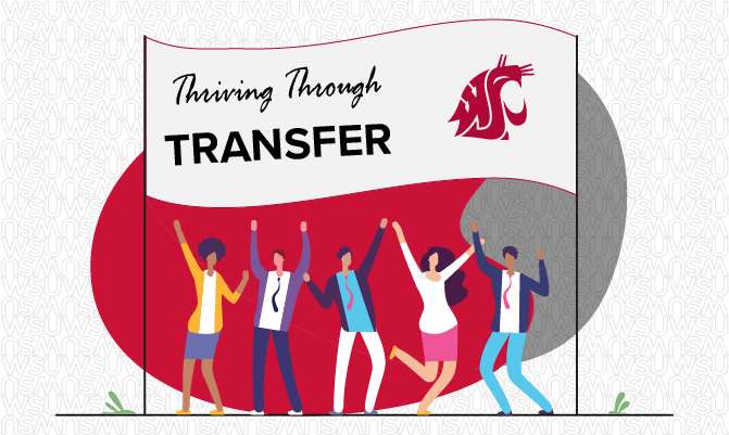 vector image of people under a banner that says thriving through transfer