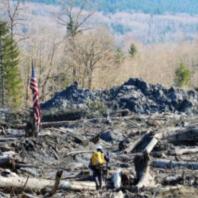 sr-530 landslide aftermath with american flag