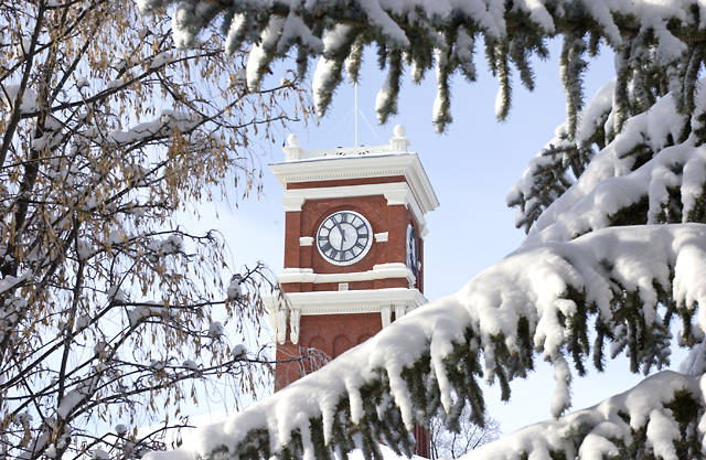 Bryan Clock Tower on a Snowy day